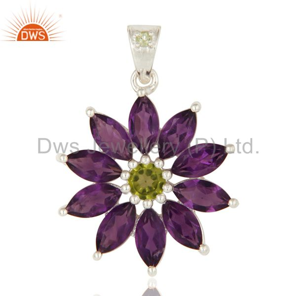 Natural Amethyst And Peridot Solid Sterling Silver Solitaire Pendant