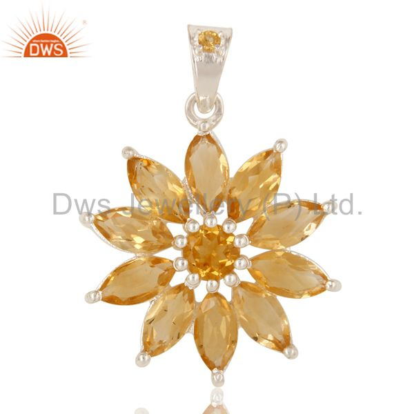 Solid Sterling Silver Natural Citrine Gemstone Floral Cluster Pendant