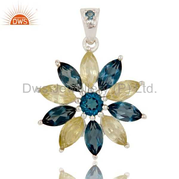 925 Sterling Silver Marquise Cut London Blue Topaz Lemon Topaz Design Pendant