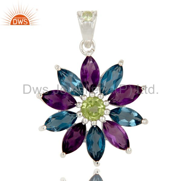 925 Sterling Silver Amethyst London Blue Topaz and Peridot Design Pendant