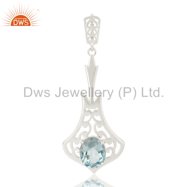 925 Sterling Silver Genuine Blue Topaz Gemstone Designer Pendant