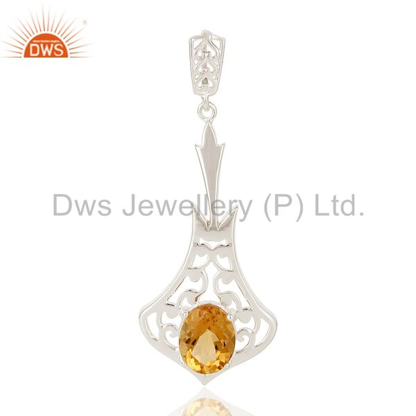 100% Genuine 925 Sterling Silver Citrine Gemstone Pendant