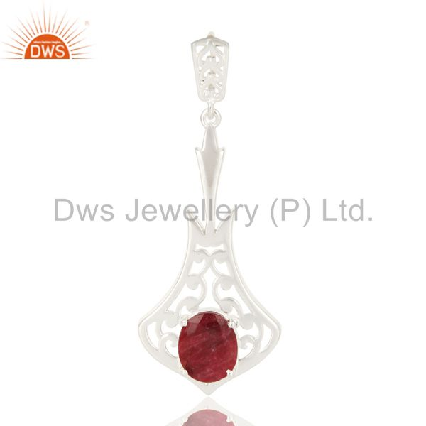 Designer 925 Sterling Silver Red Ruby Corundum Gemstone Pendant