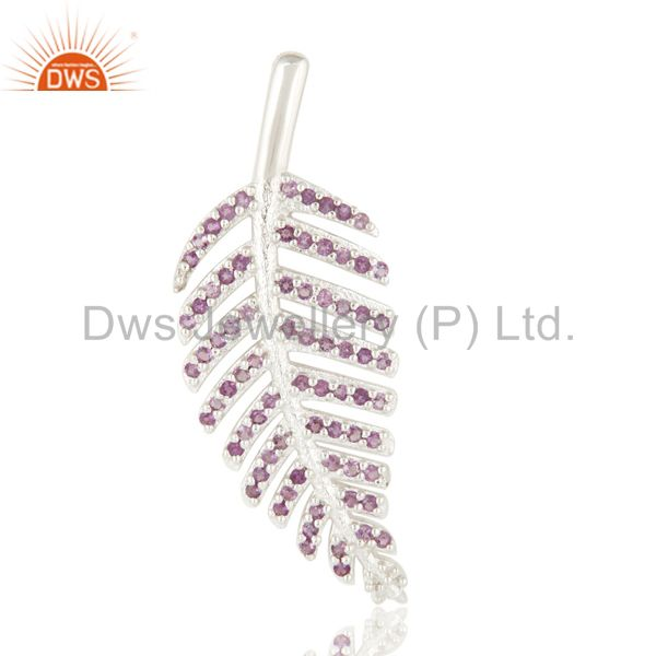 925 Sterling Silver Leaf Design Natural Amethyst Gemstone Pendant