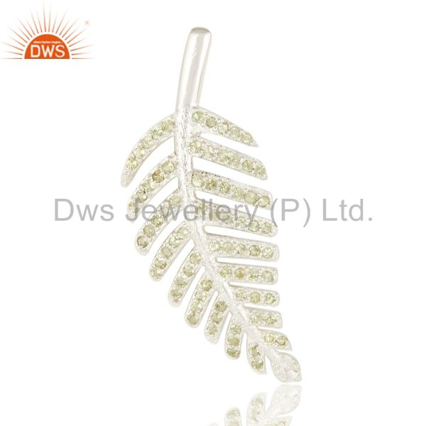 Natural Peridot Gemstone Designer Look Leaf Pendant In Sterling Silver
