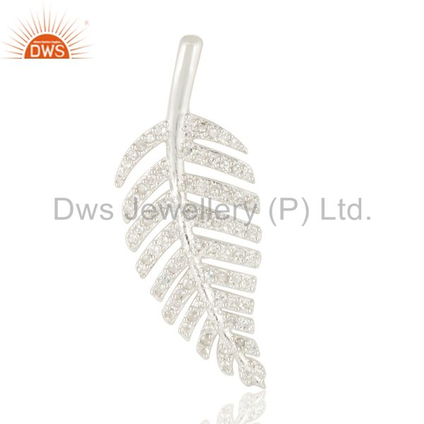 Natural White Topaz Sterling Silver Unique Design Leaf Pendant Jewelry