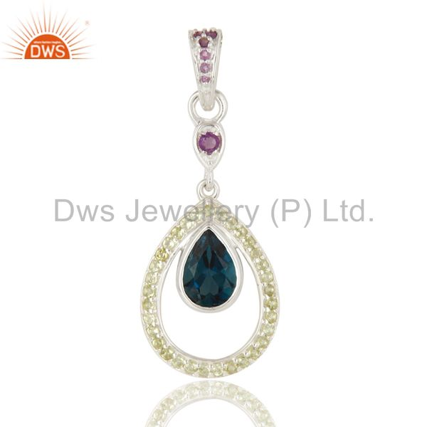 Natural Blue Topaz, Peridot And Amethyst Sterling Silver Pendant