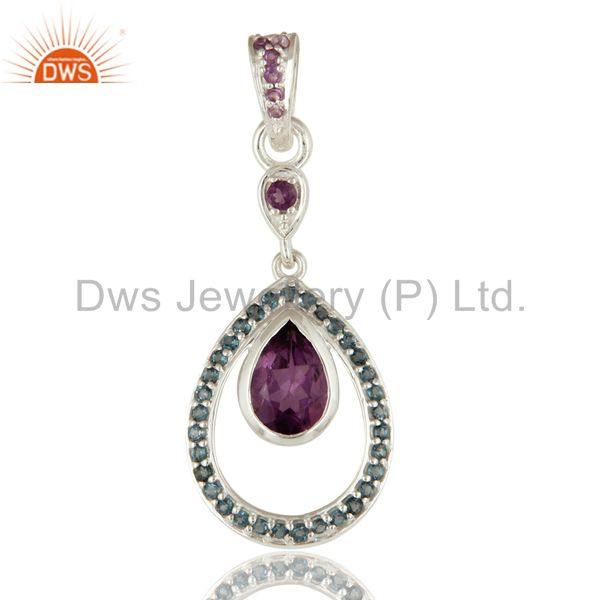 925 Sterling Silver Amethyst And Blue Topaz Gemstone Teardrop Pendant