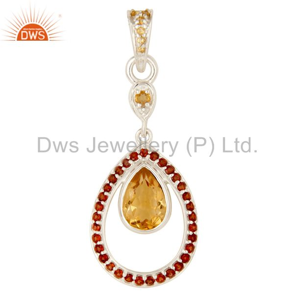 925 Sterling Silver Garnet And Citrine Gemstone Designer Pendant