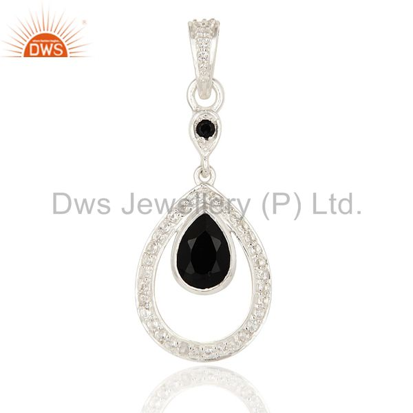 White Topaz And Black Onyx Gemstone 925 Sterling Silver Designer Pendant