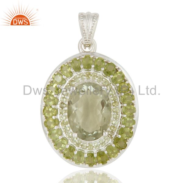 925 Sterling Silver Green Amethyst And Peridot Gemstone Cluster Pendant