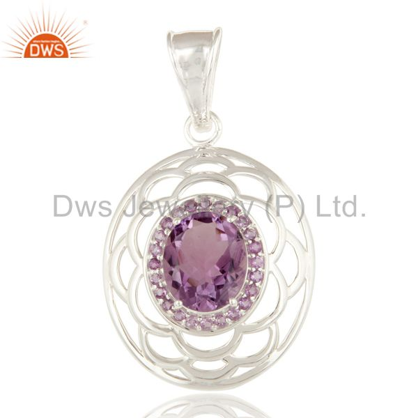 925 Sterling Silver Amethyst Gemstone Oval Shaped Prong Set Pendant
