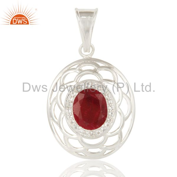 White Topaz And Red Corundum Gemstone Genuine Sterling Silver Pendant