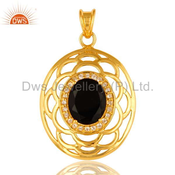 925 Sterling Silver Black Onyx And White Topaz Pendant - Yellow Gold Plated
