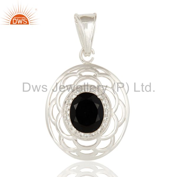 925 Sterling Silver Black Onyx And White Topaz Designer Pendant