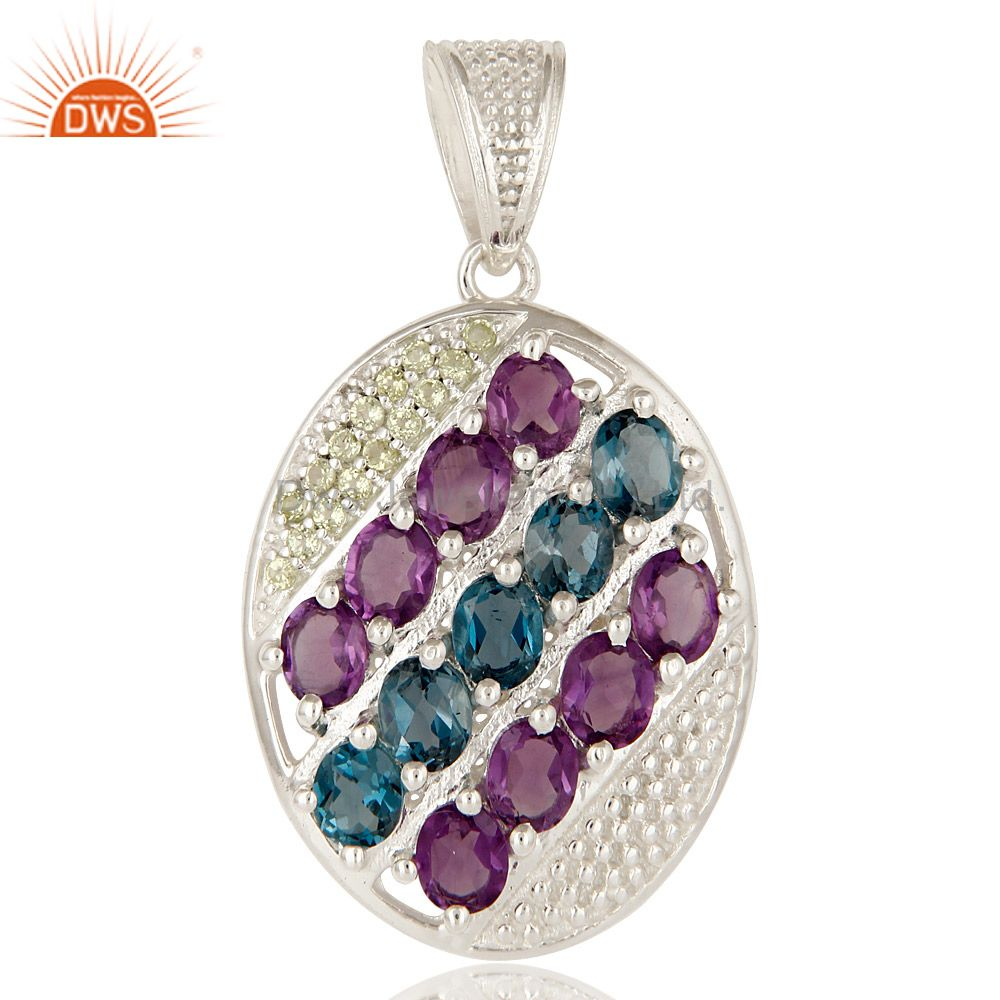 925 Sterling Silver Amethyst, Blue Topaz And Peridot Designer Cluster Pendant