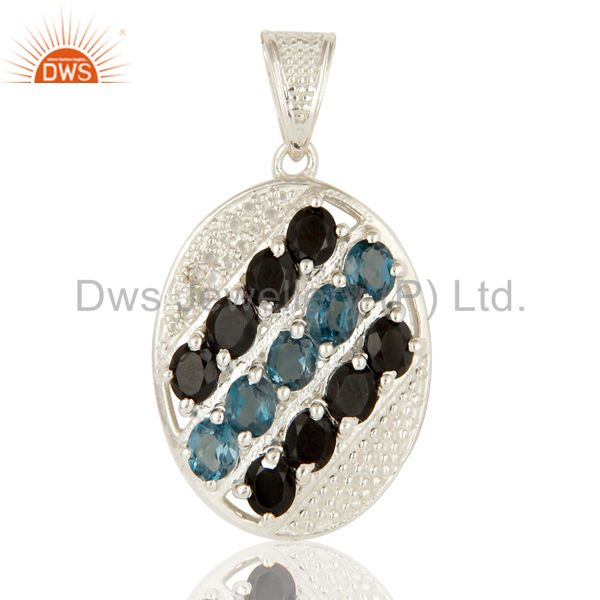 Black Onyx, Blue Topaz And White Topaz Sterling Silver Designer Pendant