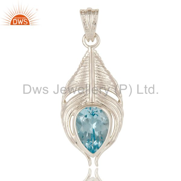 Designer Sterling Silver Natural Blue Topaz Gemstone Peacock Feather Pendant