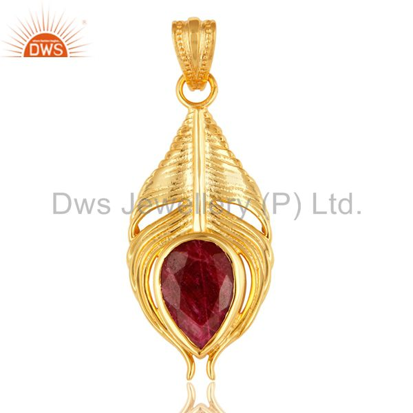Gold Plated Ruby Corundum Sterling Silver Peacock Feather Pendant