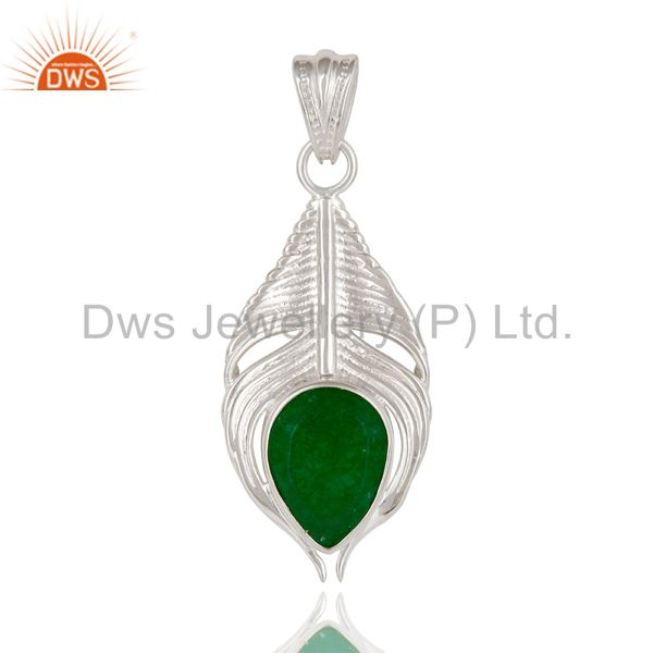 925 Sterling Silver Green Aventurine Gemstone Peacock Feather Pendant