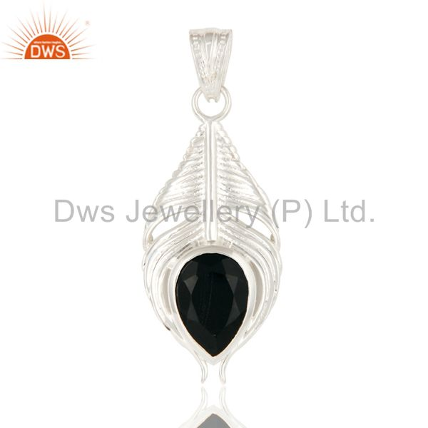 925 Sterling Silver Peacock Feather Pendant With Natural Black Onyx Gemstone