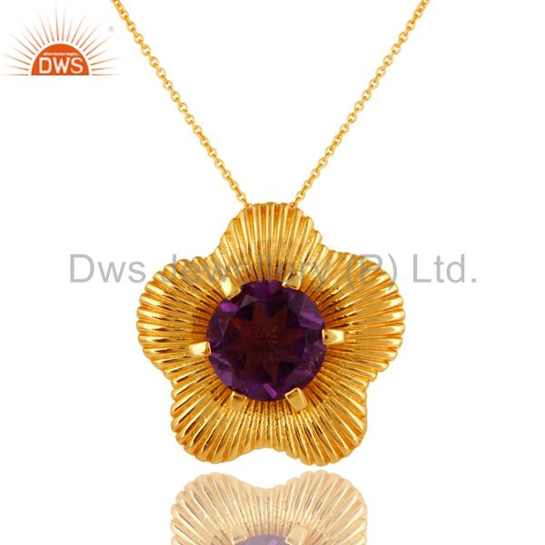 18K Yellow Gold Over Sterling Silver Amethyst Prong Set Gemstone Pendant