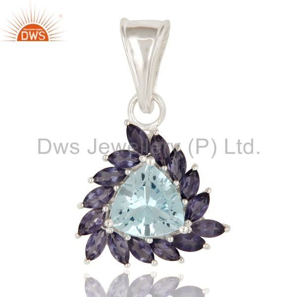 Trillion Cut Blue Topaz And Iolite Sterling Silver Solitaire Gemstone Pendant
