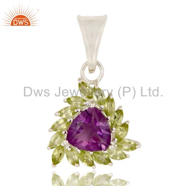 Natural Purple Amethyst And Peridot Sterling Silver Designer Cluster Pendant