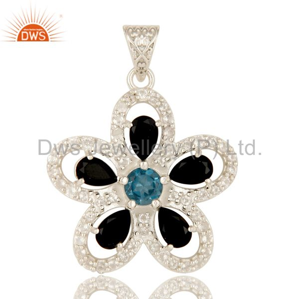 925 Sterling Silver Blue Topaz And Black Onyx Flower Pendant With White Topaz