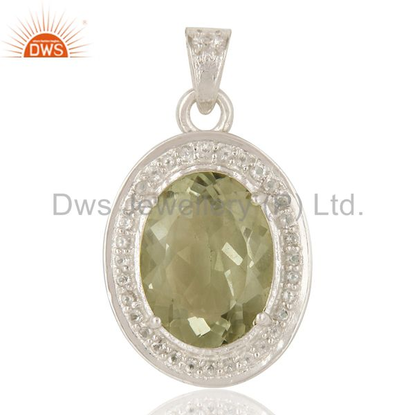 Natural Green Amethyst And White Topaz Sterling Silver Gemstone Designer Pendant