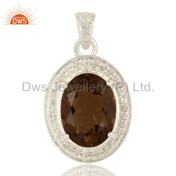 925 Sterling Silver Smoky Quartz And White Topaz Pendant