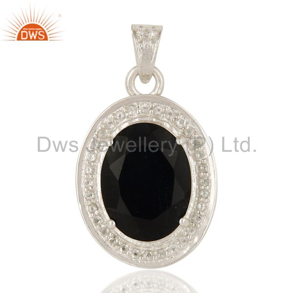 Natural Black Onyx And White Topaz  Sterling Silver Prong Set Gemstone Pendant