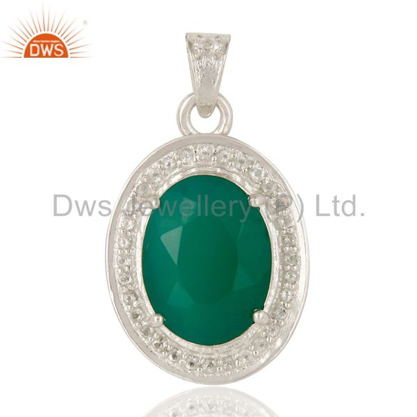 Faceted Green Onyx And White Topaz  Sterling Silver Prong Set Gemstone Pendant