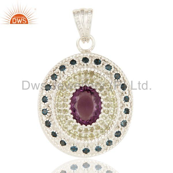 London Blue Topaz And Amethyst Sterling Silver Pendant With Peridot Gemstone