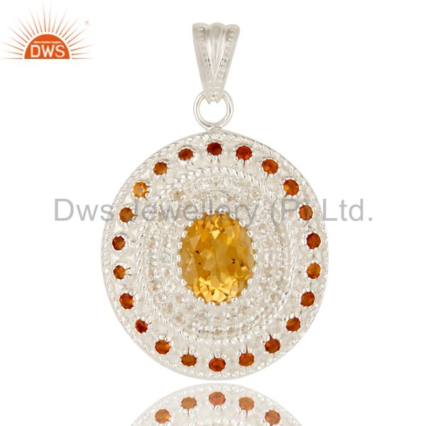 925 Sterling Silver Natural Citrine And White Topaz Gemstone Cluster Pendant