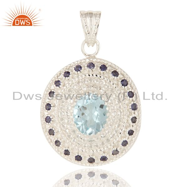 Natural Blue Topaz and White Topaz Sterling Silver Pendant With Iolite