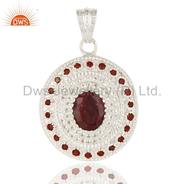 Natural Garnet And Ruby Corundum 925 Sterling Silver Designer Pendant