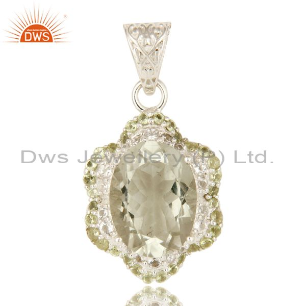 925 Sterling Silver Green Amethyst And Peridot Designer Pendant With White Topaz