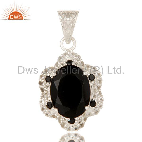 925 sterling silver black spinel, black onyx and white topaz gemstone pendant