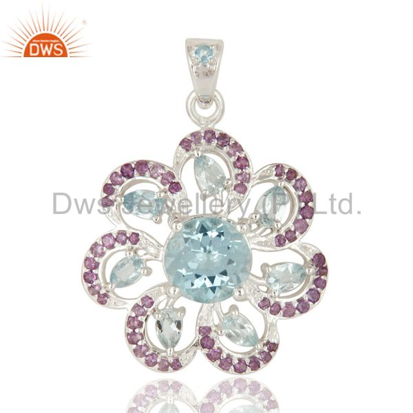 Natural Amethyst And Blue Topaz Sterling Silver Flower Design Pendant