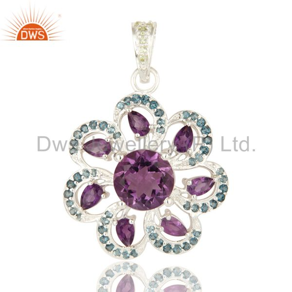 Designer Sterling Silver Amethyst And Blue Topaz Gemstone Pendant With Peridot