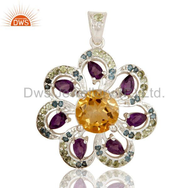 Sterling silver amethyst, citrine and blue topaz gemstone pendant with peridot