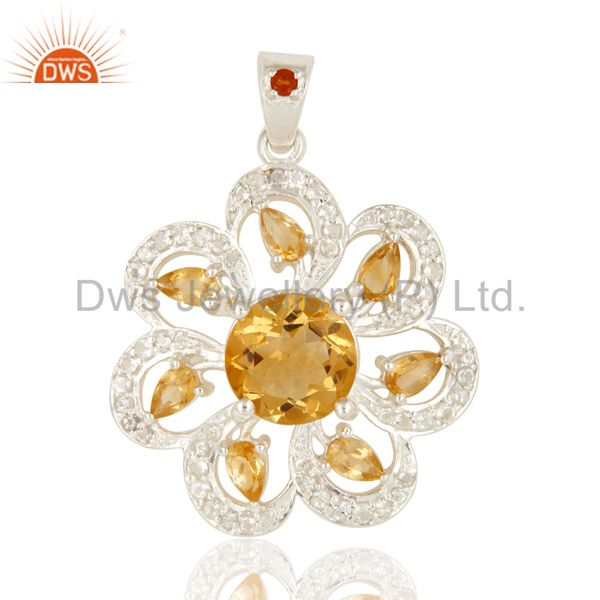 Genuine Citrine And White Topaz Sterling Silver Floral Design Pendant
