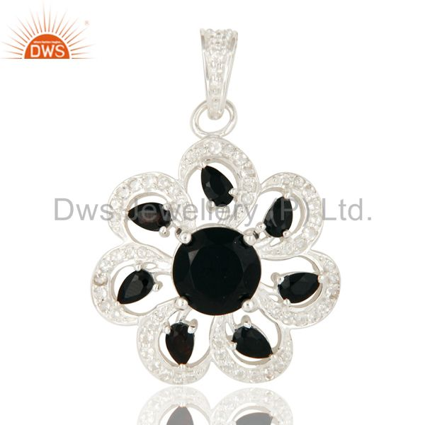 Natural Black Onyx Sterling Silver Solitaire Flower Pendant With White Topaz