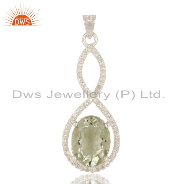 925 sterling silver natural green amethyst with white topaz infinity pendant