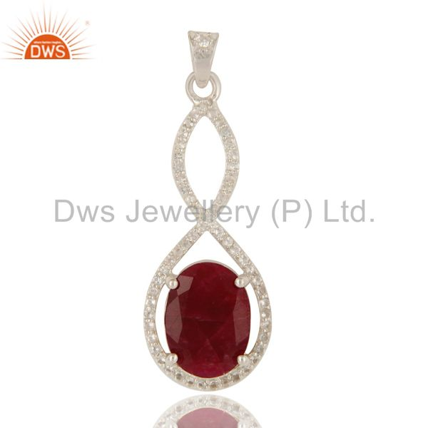 925 sterling silver natural ruby corundum prong set pendant with white topaz