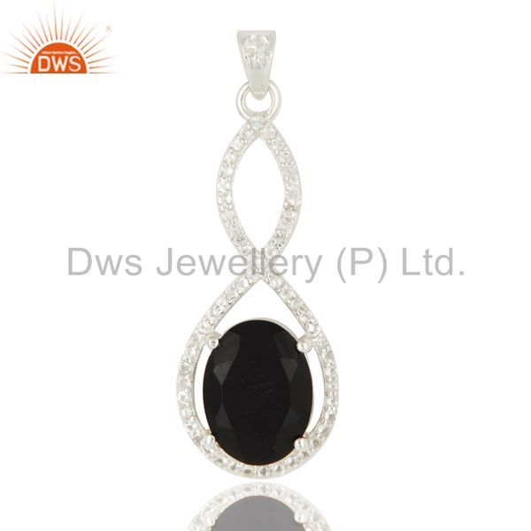 925 Sterling Silver Black Onyx Prong Set Gemstone Pendant With White Topaz