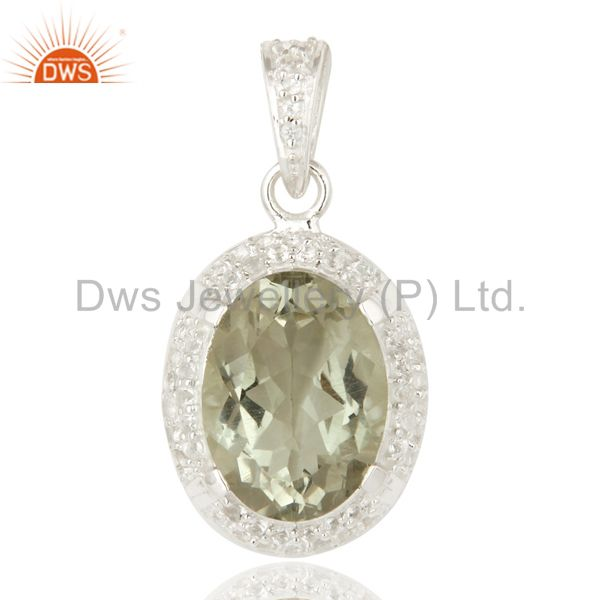 925 Sterling Silver Genuine Green Amethyst And White Topaz Pendant