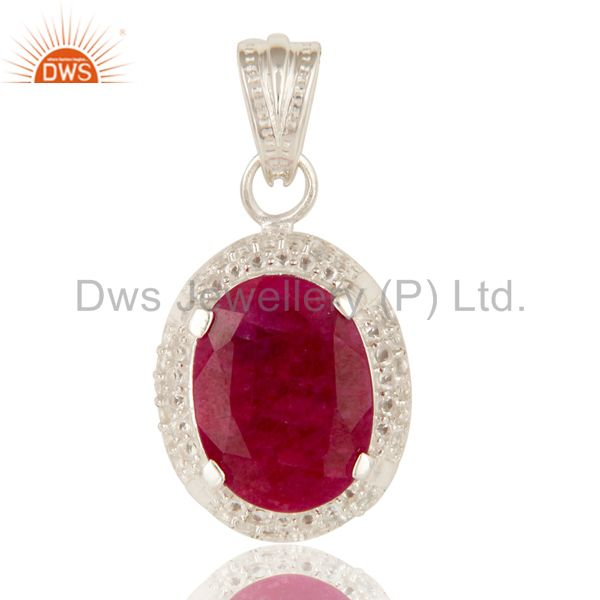 925 Sterling Silver Ruby Red Corundum And White Topaz Gemstone Pendant