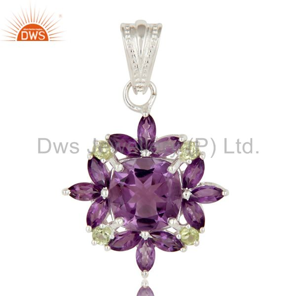 Amethyst And Peridot Sterling Silver Prong Set Gemstone Flower Pendant